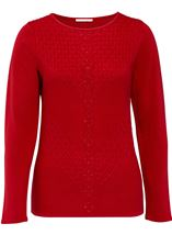 Anna Rose Cable Detail Knit Top Ruby - Gallery Image 1