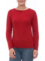Anna Rose Cable Detail Knit Top Ruby - Gallery Image 2