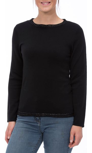 Anna Rose Beaded Neck Knit Top Black - Gallery Image 2