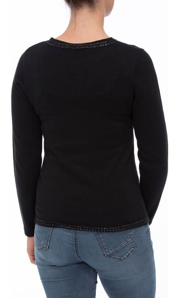 Anna Rose Beaded Neck Knit Top Black - Gallery Image 3