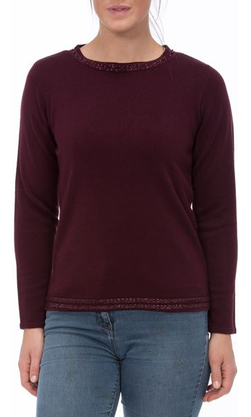 Anna Rose Beaded Neck Knit Top Wine - Gallery Image 2