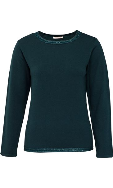 Anna Rose Beaded Neck Knit Top Emerald