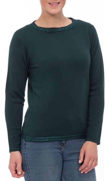 Anna Rose Beaded Neck Knit Top Emerald - Gallery Image 2