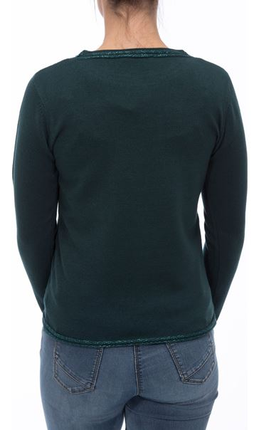 Anna Rose Beaded Neck Knit Top Emerald - Gallery Image 3