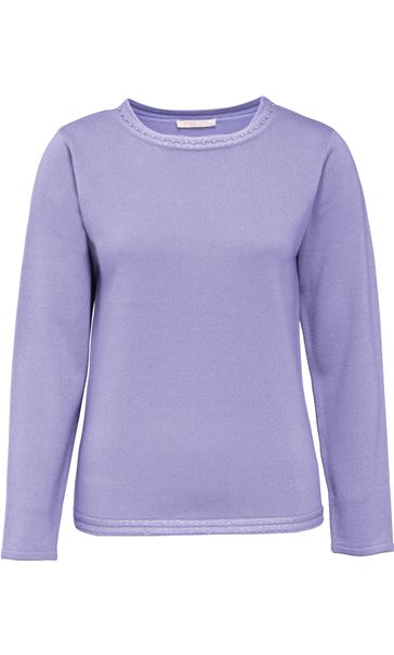 Anna Rose Beaded Neck Knit Top Lavender