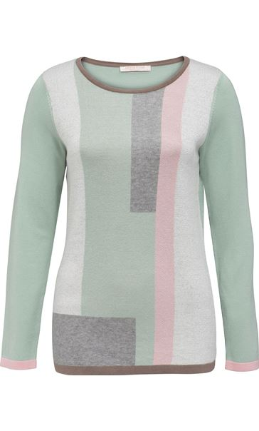 Anna Rose Colour Block Knit Top Mint/Multi - Gallery Image 1