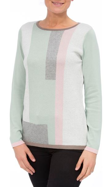Anna Rose Colour Block Knit Top Mint/Multi - Gallery Image 2