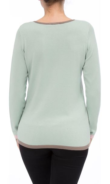 Anna Rose Colour Block Knit Top Mint/Multi - Gallery Image 3