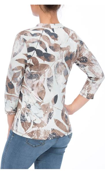 Anna Rose Leaf Print Jersey Blouse Mint/Taupe Floral