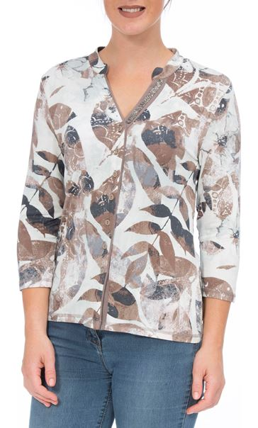 Anna Rose Leaf Print Jersey Blouse Mint/Taupe Floral - Gallery Image 4