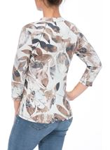 Anna Rose Leaf Print Jersey Blouse Mint/Taupe Floral - Gallery Image 1