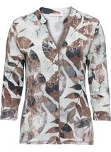 Anna Rose Leaf Print Jersey Blouse Mint/Taupe Floral - Gallery Image 3