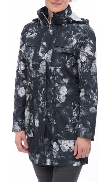 Floral Printed Lightweight Coat Black Floral
