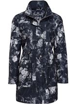 Floral Printed Lightweight Coat Black Floral - Gallery Image 2