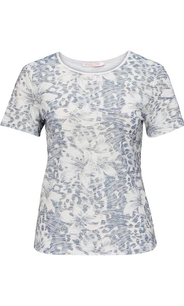 Anna Rose Printed Short Sleeve Top Navy/White