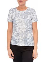 Anna Rose Printed Short Sleeve Top Navy/White - Gallery Image 2