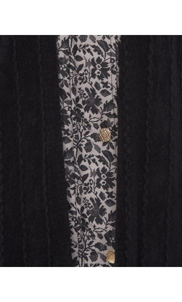 Anna Rose Floral Printed Scarf Coat Taupe/Black - Gallery Image 4