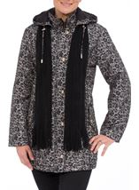 Anna Rose Floral Printed Scarf Coat Taupe/Black - Gallery Image 1