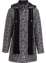 Anna Rose Floral Printed Scarf Coat Taupe/Black - Gallery Image 2
