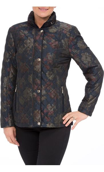 Anna Rose Floral Printed Padded Coat Navy Floral