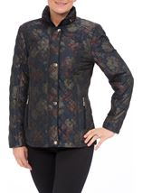 Anna Rose Floral Printed Padded Coat Navy Floral - Gallery Image 1