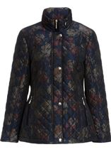 Anna Rose Floral Printed Padded Coat Navy Floral - Gallery Image 2