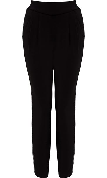 Embellished Detail Beaded Trousers Black
