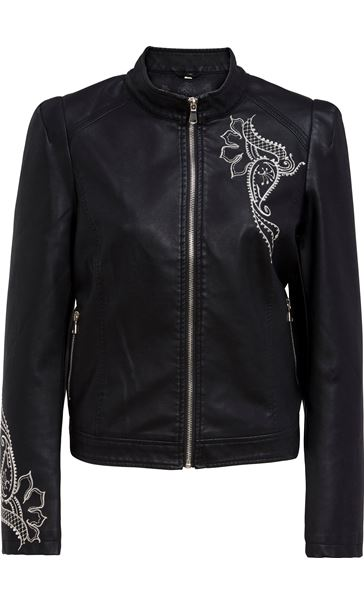 Embroidered Faux Leather Biker Jacket Black
