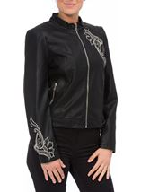 Embroidered Faux Leather Biker Jacket Black - Gallery Image 2