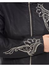 Embroidered Faux Leather Biker Jacket Black - Gallery Image 4