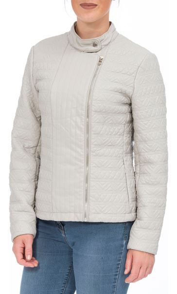 Quilted Faux Leather Zip Jacket