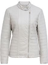 Quilted Faux Leather Zip Jacket Grey - Gallery Image 1