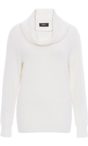Cowl Neck Eyelash Knit Top Ivory