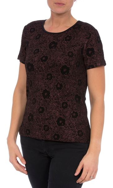 Anna Rose Glittering Floral Metallic Top Red