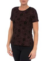 Anna Rose Glittering Floral Metallic Top Red - Gallery Image 1