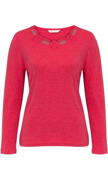 Anna Rose Long Sleeve Embellished Top Red