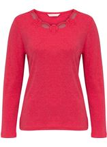 Anna Rose Long Sleeve Embellished Top Red - Gallery Image 1