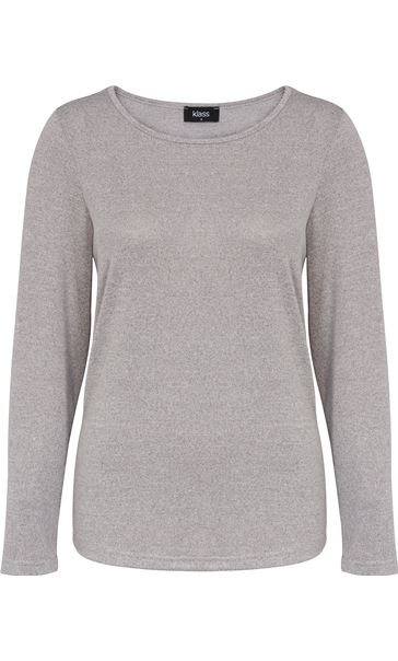Long Sleeve Knit Top With Pleated Chiffon Grey Marl