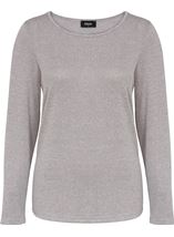 Long Sleeve Knit Top With Pleated Chiffon Grey Marl - Gallery Image 1