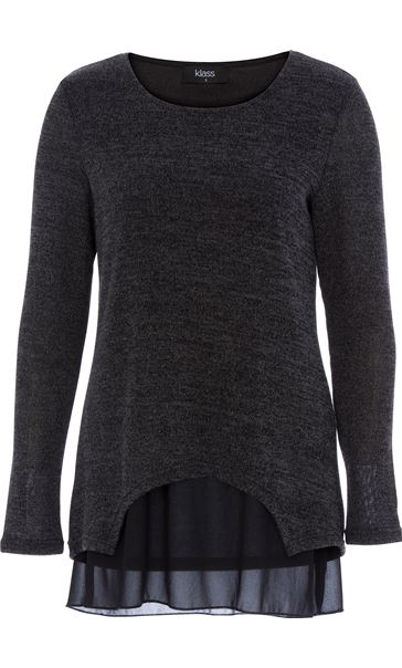 Layered Long Sleeve Knit And Georgette Top Black/Grey