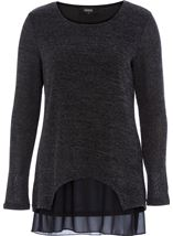 Layered Long Sleeve Knit And Georgette Top Black/Grey - Gallery Image 1