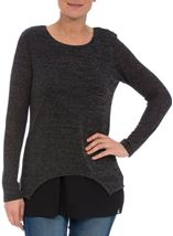 Layered Long Sleeve Knit And Georgette Top Black/Grey - Gallery Image 2