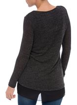 Layered Long Sleeve Knit And Georgette Top Black/Grey - Gallery Image 3