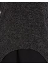 Layered Long Sleeve Knit And Georgette Top Black/Grey - Gallery Image 4