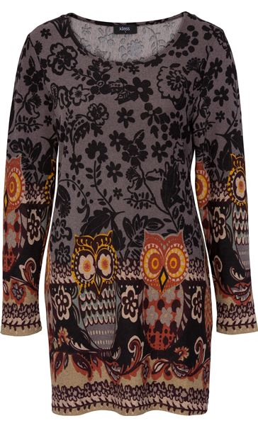 Floral and Owl Print Tunic with Sleeves Black/Grey