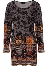 Floral and Owl Print Tunic with Sleeves Black/Grey - Gallery Image 1