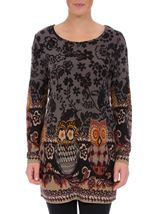 Floral and Owl Print Tunic with Sleeves Black/Grey - Gallery Image 2