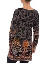 Floral and Owl Print Tunic with Sleeves Black/Grey - Gallery Image 3