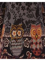 Floral and Owl Print Tunic with Sleeves Black/Grey - Gallery Image 4