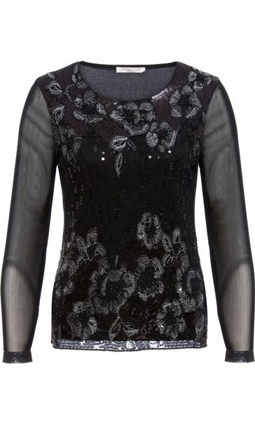 Anna Rose Long Sleeve Embellished Mesh Top Black/Silver